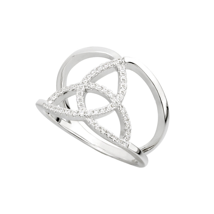 Trinity Knot Ring with cubic Zirconias