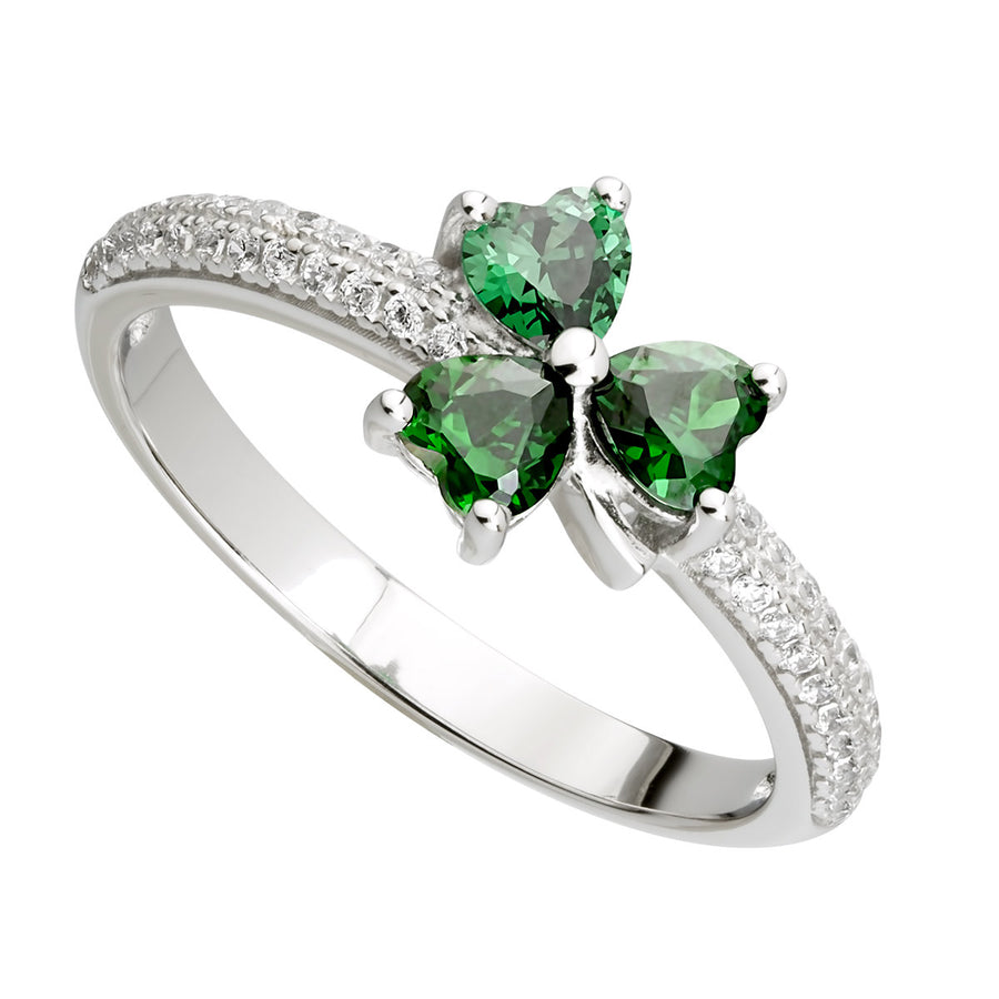 Green Cz Shamrock Ring