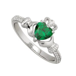 Claddagh Ring with emerald and cubic zirconia