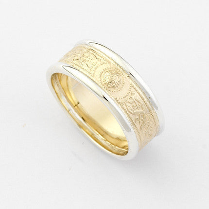 Tara Narrow Yellow Gold Ring with White Gold Trims - Brian de Staic Celtic/Irish Jewelry