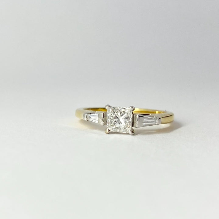 Princess Cut Diamond Ring with Baguette Shoulders