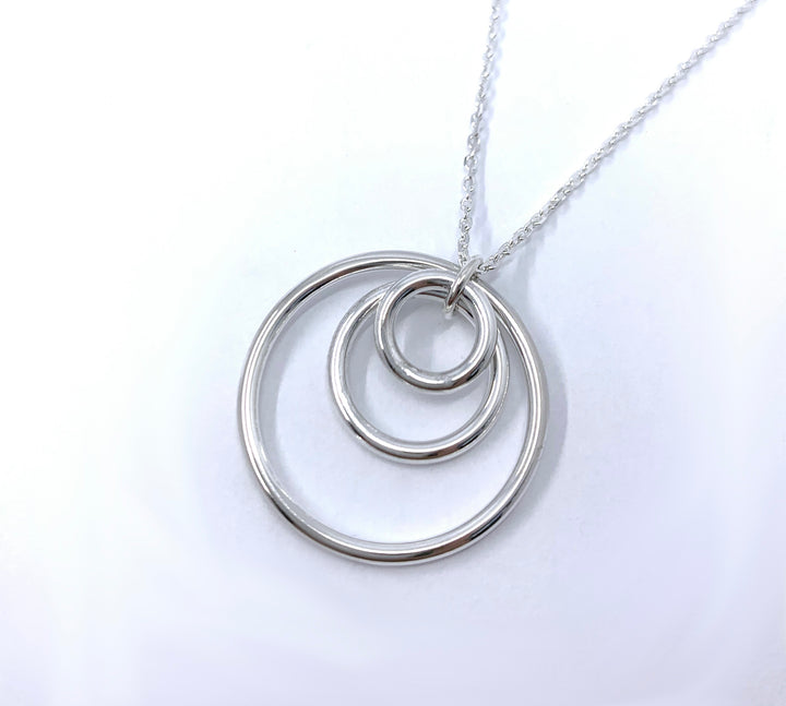 Triple Circle Sterling Silver Pendant on a silver chain