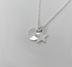 Circular Disc and Star Sterling Silver Pendant