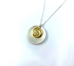 Spiral 9K Gold Charm & Brushed Sterling Silver Disc Pendant