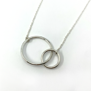 Double Circle Horizontal (Small & Large) Sterling Silver Pendant