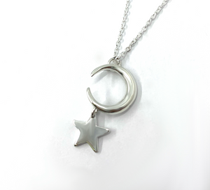sterling silver moon and stars pendant necklace jewellery handcrafted Irish jewellery