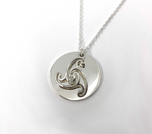 Sibeal on Medium Disc Sterling Silver Pendant With silver chain
