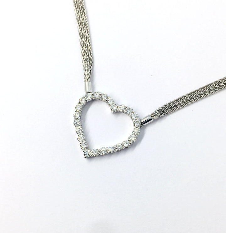 White Gold Diamond Heart 1.5ct Pendant