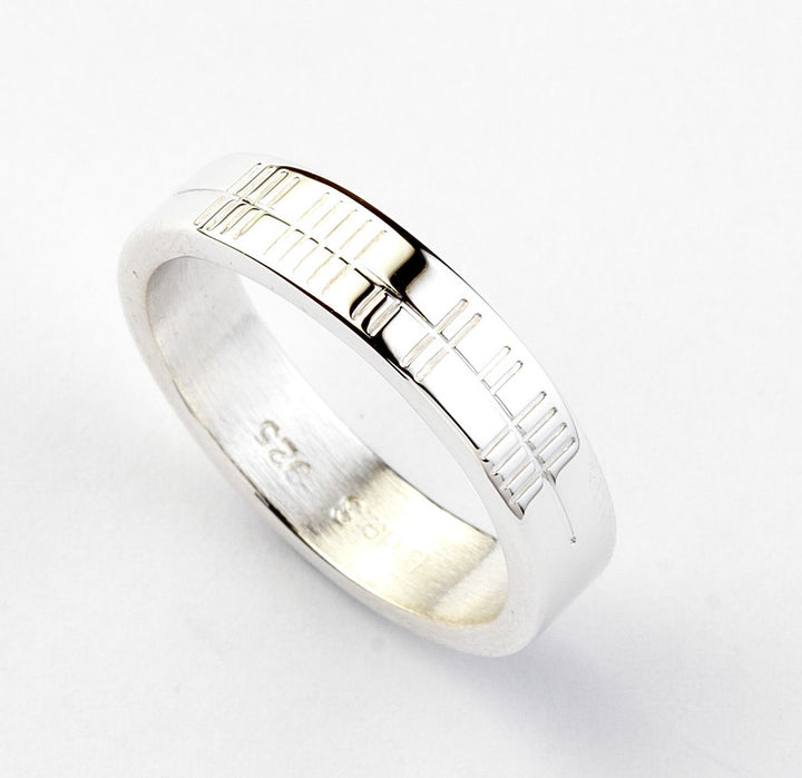 Ogham Silver Ring - Narrow - Brian de Staic Celtic/Irish Jewelry