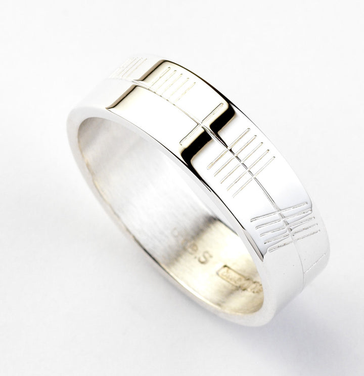 Ogham Silver Ring - Wide - Brian de Staic Celtic/Irish Jewelry