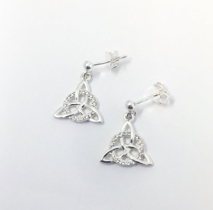 Trinity Knot Drop Earrings with Cubic Zirconia Stones.