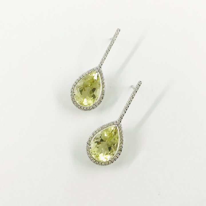 Lemon Quartz Diamond Drops