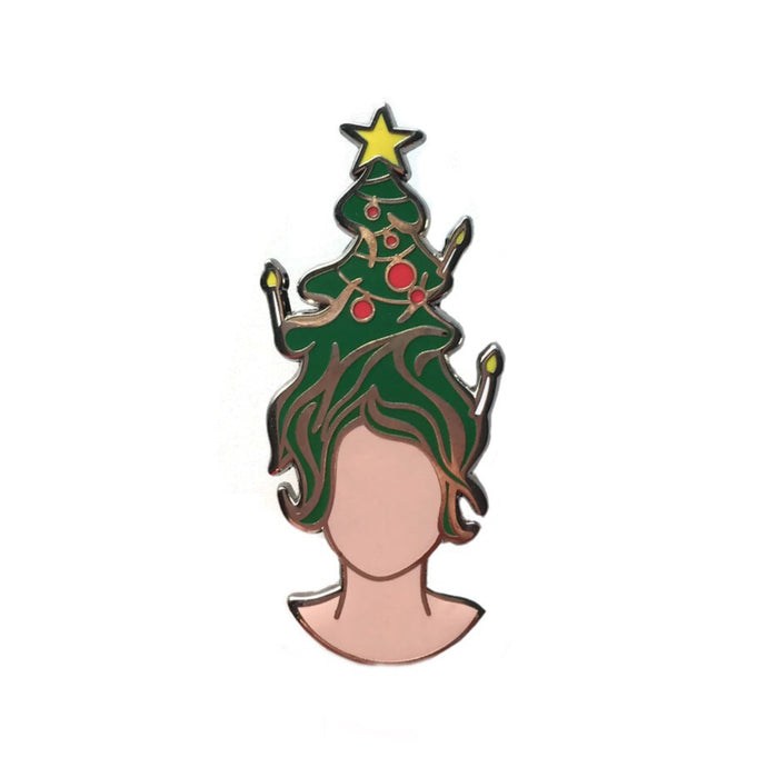 Enamel pin with girl and christmas tree hair by Zoi-Zoi