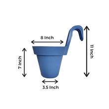Load image into Gallery viewer, 8 Inch Blue Railing Hanging Pots- Set of 3 - Leafy Island