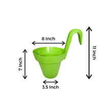 Load image into Gallery viewer, 8 Inch Green Railing Hanging Pots- Set of 3