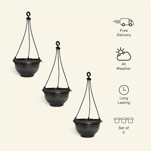 9 Inch Black Color Hanging Pots- Set of 3 - Leafy Island
