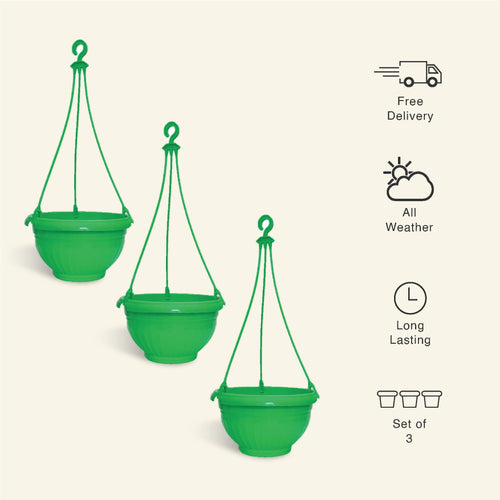 9 Inch Green Color Hanging Pots- Set of 3 - Leafy Island