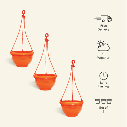 9 Inch Orange Color Hanging Pots- Set of 3 - Leafy Island
