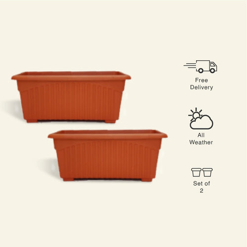 13 Inch Rectangular Planter/ Pot - Set of 2 - Leafy Island