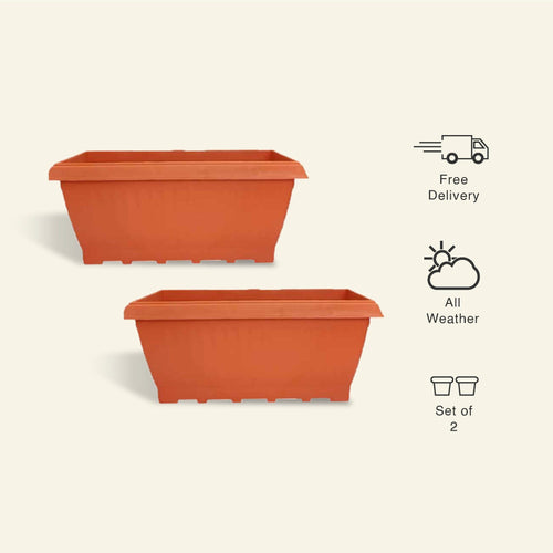 17 Inch Rectangular Planter/ Pot - Set of 2 - Leafy Island