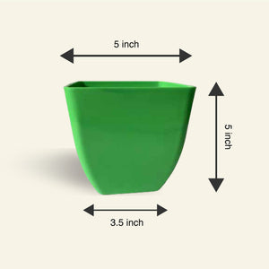 5 Inch Green Square Pot - Set of 3