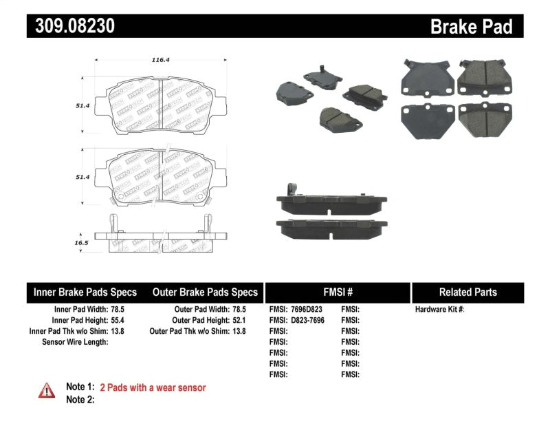StopTech Performance 00-05 Celica GT-S Rear Brake Pads
