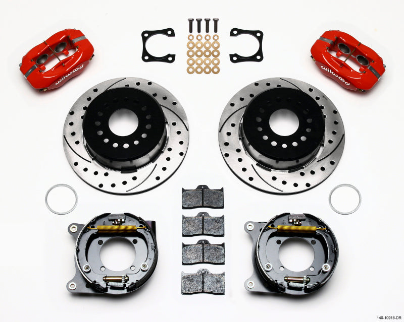 Wilwood Forged Dynalite P/S Park Brake Kit Drilled Red Chevy 12 Bolt-Spec 3.15in Brng Stggrd mt