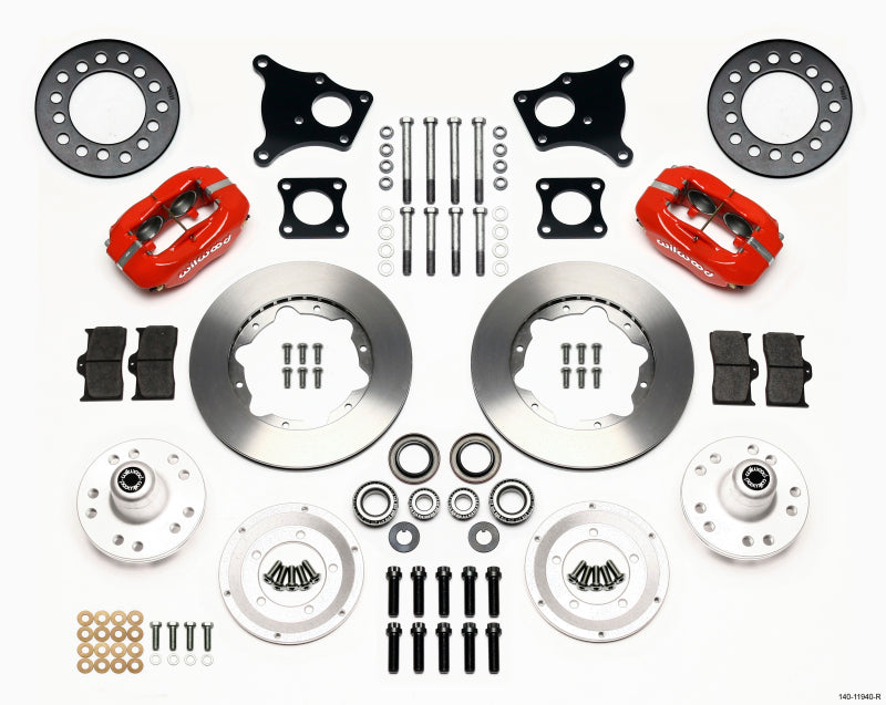 Wilwood Forged Dynalite Front Kit 11.00in Red AMC 71-76 OE Disc w/o Bendix Brakes