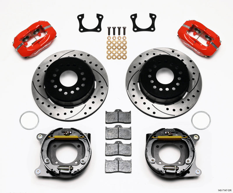 Wilwood Forged Dynalite P/S Park Brake Kit Drilled Red 58-64 Olds/Pontiac Ends