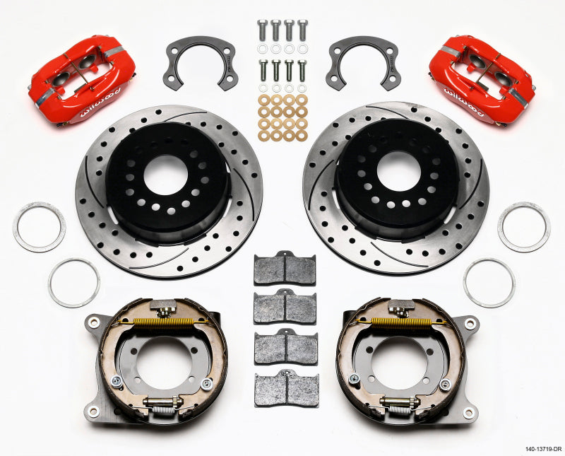 Wilwood Forged Dynalite P/S Park Brake Kit Drilled Red Ford 8.8 Special w/2.50in Offset-5 Lug