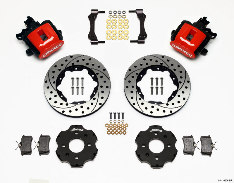 Wilwood Combination Parking Brake Rear Kit 11.00in Drilled Red Civic / Integra Disc 2.39 Hub Offset