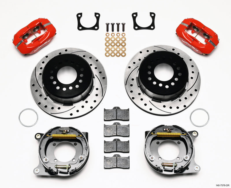 Wilwood Forged Dynalite P/S Park Brake Kit Drilled Red Chevy 12 Bolt-Spec 3.15in Brng