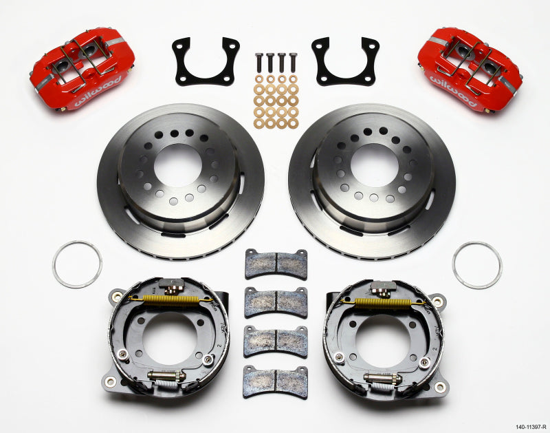 Wilwood Dynapro Low-Profile 11.00in P-Brake Kit - Red 58-64 Olds/Pontiac Ends 2.81in Offset