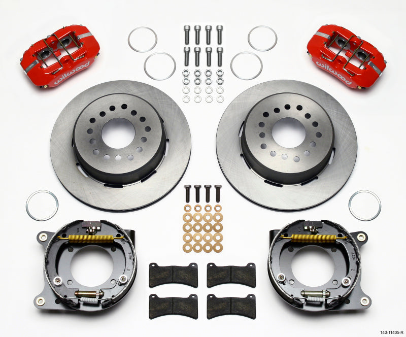 Wilwood Dynapro Low-Profile 11.00in P-Brake Kit - Red 55-57 Chevy 2.34in Offset