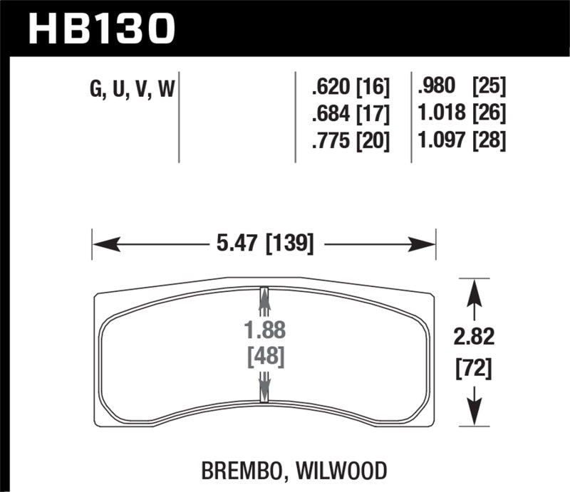 Hawk DTC-80 Brembo/Wilwood 25mm Race Brake Pads