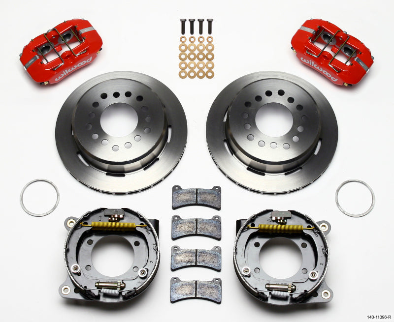 Wilwood Dynapro Low-Profile 11.00in P-Brake Kit - Red Ford 8.8 w/2.50in Offset-5 Lug