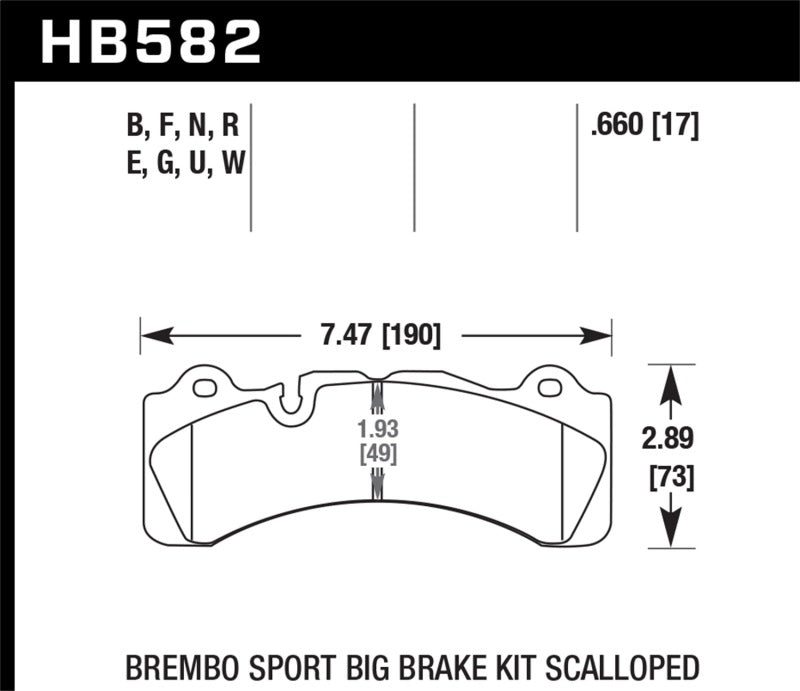 Hawk DTC-80 Brembo Scalloped 17mm Race Brake Pads