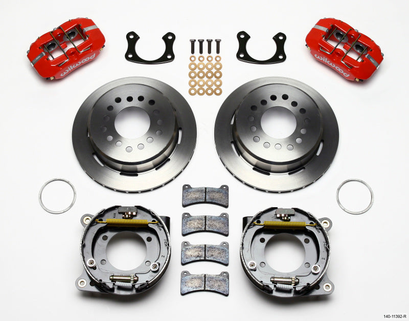 Wilwood Dynapro Low-Profile 11.00in P-Brake Kit - Red New Big Ford 2.50in Off Staggerd Mount