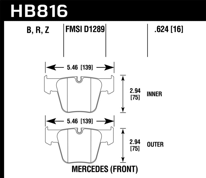 Hawk 08-14 Mercedes-Benz CL63 AMG/CL65 AMG Performance Ceramic Street Front Brake Pads