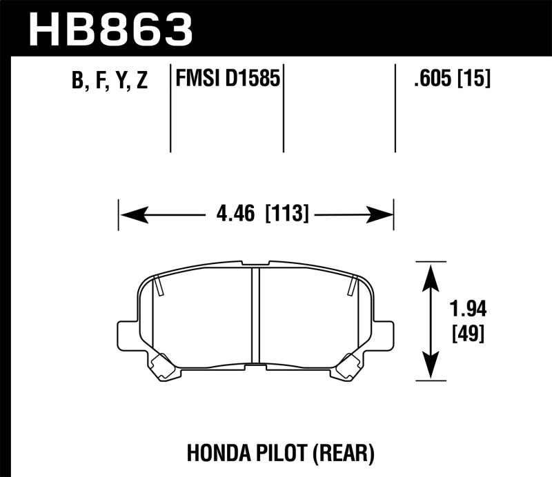 Hawk 12-15 Honda Pilot LTS Street Rear Brake Pads