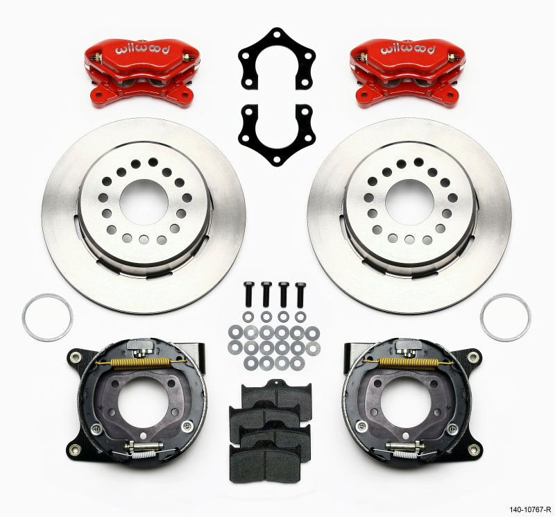 Wilwood Forged Dynalite P/S Park Brake Kit Red Mopar/Dana 2.50in Off w/Snap Ring Brng