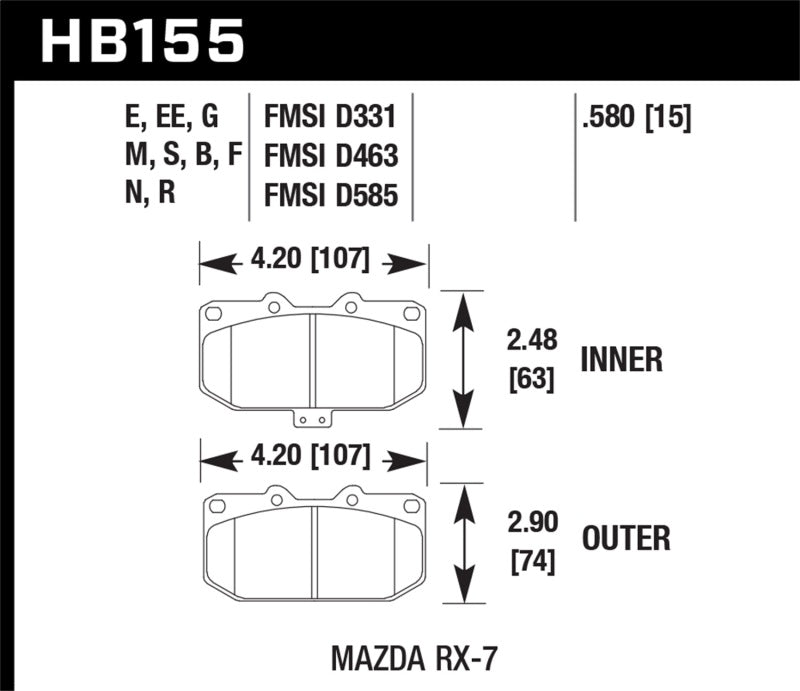 Hawk 93-95 Mazda RX-7 Blue 9012 Front Brake Pads