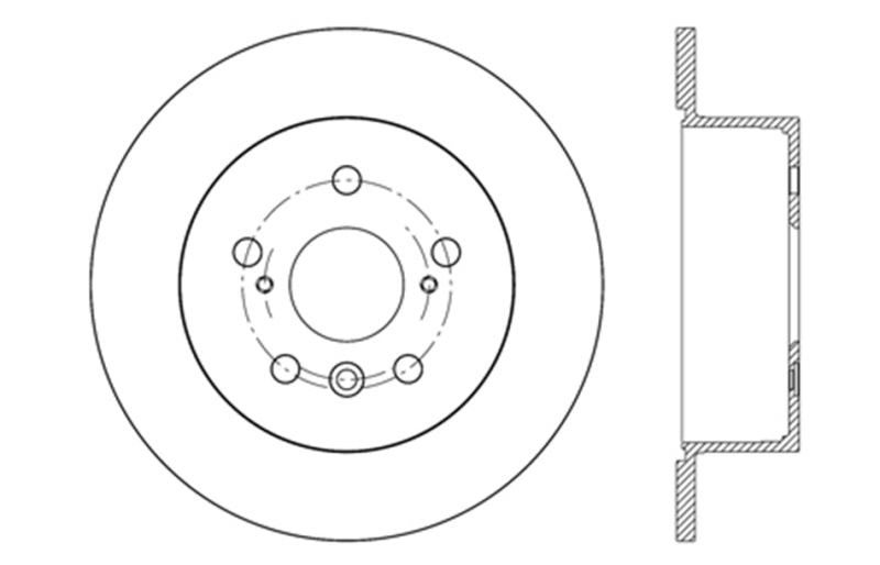 StopTech 12-17 Toyota Camry Sport Drilled Vented 1-Piece Rear Passenger Side Brake Rotor