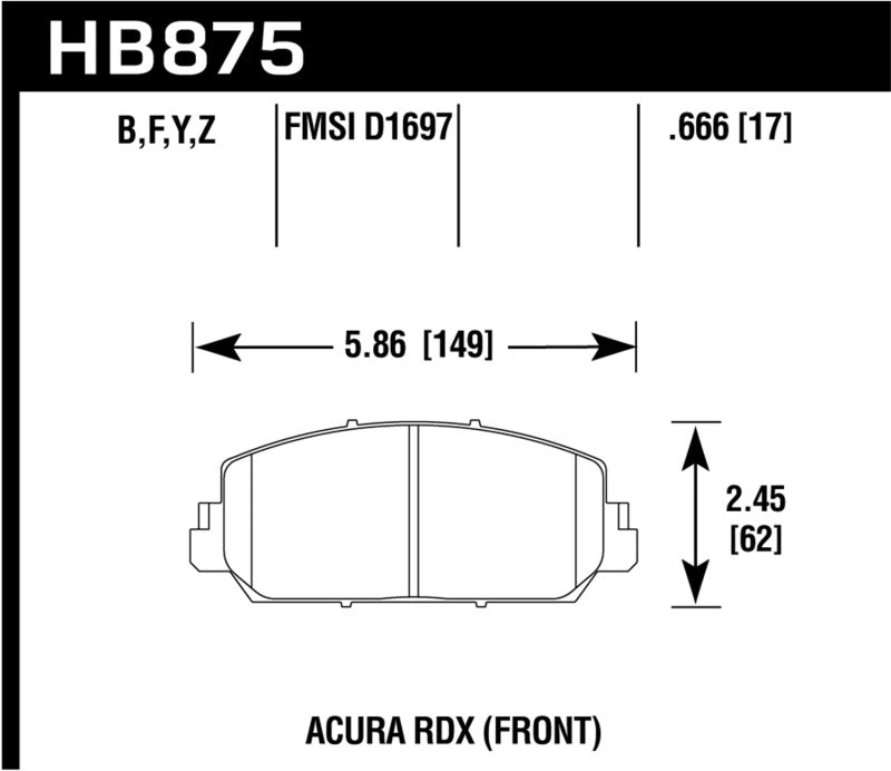 Hawk 14-17 Acura RDX/RLX Performance Ceramic Street Front Brake Pads