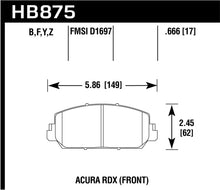 Load image into Gallery viewer, Hawk 14-17 Acura RDX/RLX HPS 5.0 Front Brake Pads