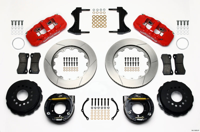 Wilwood AERO4 Rear P-Brake Kit 14.00in Red 2005-2014 Mustang