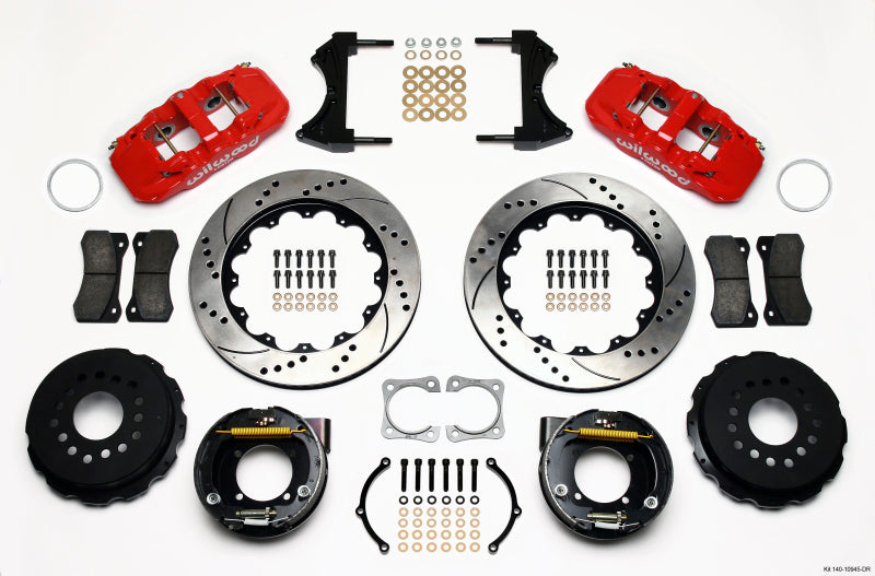 Wilwood AERO4 Rear P-Brake Kit 14.00in Drilled Red Chevy 12 Bolt-Spec 3.15in Brng
