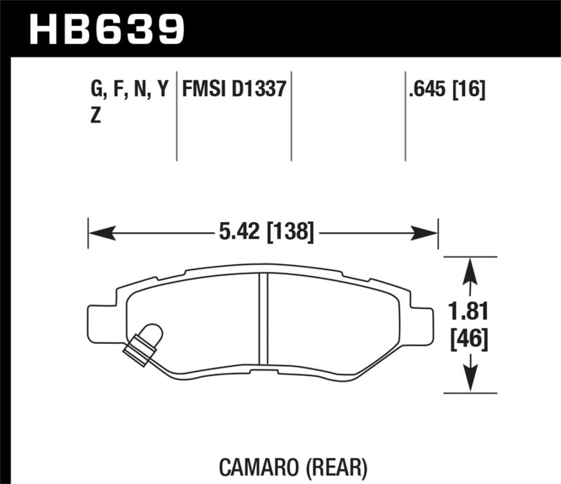 Hawk Camaro V6 HP+ Street Rear Brake Pads