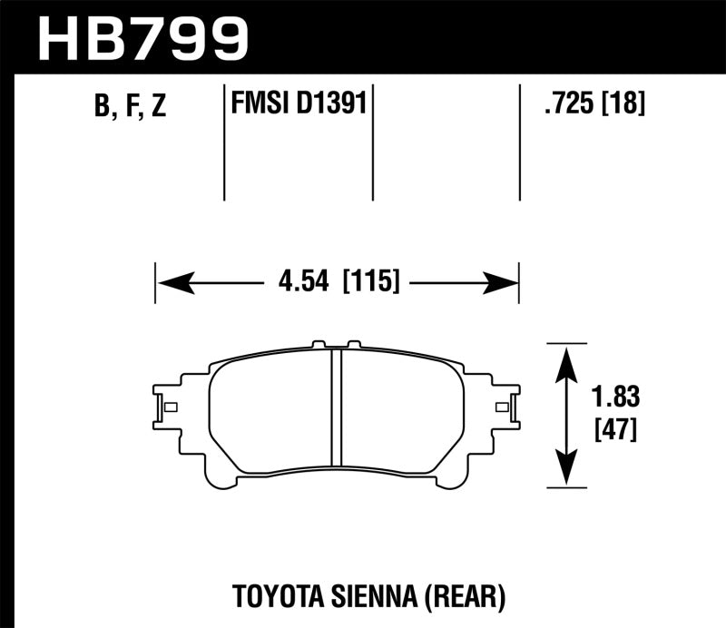 Hawk 14-16 Toyota Highlander Performance Ceramic Street Rear Brake Pads