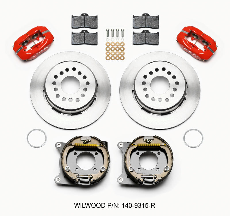 Wilwood Forged Dynalite P/S Park Brake Kit Red 12 Bolt 2.75in offset Staggered Shock